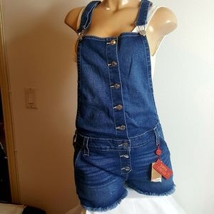 True Religion cut off jean overall shorts size L